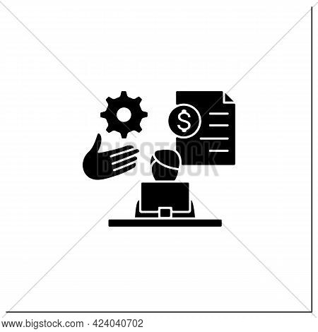 Payroll Management Glyph Icon.staff Administration, Managementing Financial Reports, Salaries And Bo