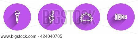 Set Microphone, Treble Clef, Tambourine And Xylophone Icon With Long Shadow. Vector