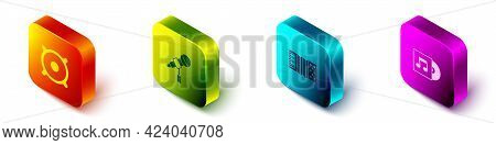 Set Isometric Stereo Speaker, Microphone, Accordion And Vinyl Disk Icon. Vector