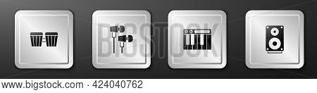 Set Drum, Air Headphones, Music Synthesizer And Stereo Speaker Icon. Silver Square Button. Vector