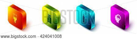 Set Isometric Paint Brush, Paint, Gouache, Jar, Dye, Marker Pen And Spray Can Nozzle Cap Icon. Vecto