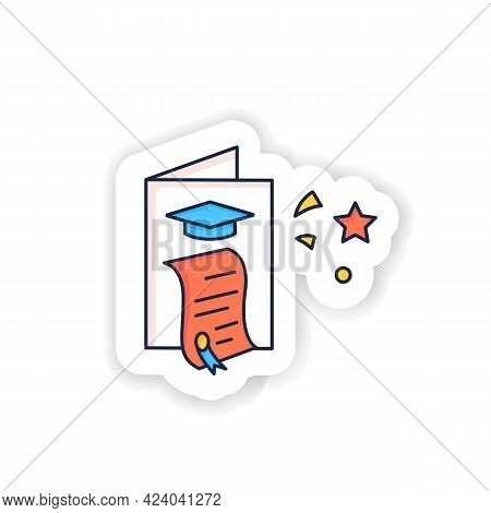 Graduation Card Sticker Icon. Successful Training Completion. Learning Achievement Document Badge Fo