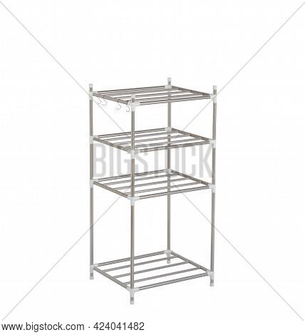 Metal Racks Or Shelve With Hooks Isolated On White Background