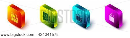 Set Isometric Cash Register Machine, Shopping List And Pencil, Wallet With Money And Paper Bag Bread