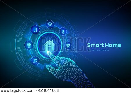 Smart Home. Automation Control System Concept. Futuristic Interface Of Smart Home Automation Assista