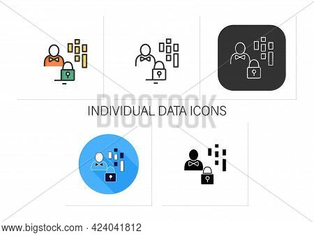 Individual Data Icons Set.personal Gathering Information.all Personally Identifiable Info Into Banki