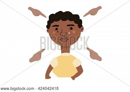 Afro American Boy Crying. Fingers Pointing On The Sad Teenager. Bullying Victim. Vector Illustration