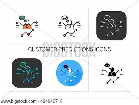 Customer Predictions Icons Set.forecasting Process A Winning Business, Purchase.profitable Investmen