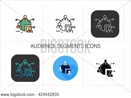 Audience Segments Icons Set.process Of Dividing Audience Into People Groups, Have Similar Needs, Val