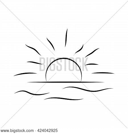 Sunrise Over The Sea. Sunset Over The Ocean. The Sun Is Over The Water. Vector Line Icon. Editable S