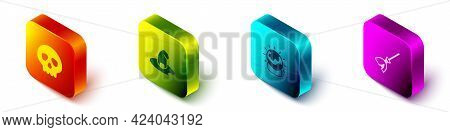 Set Isometric Skull, Witch Hat, Magic Ball And Witches Broom Icon. Vector