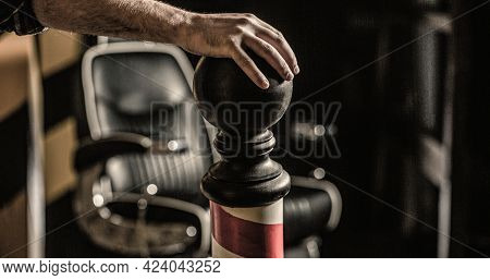 Hairstylist In Barbershop Interior. Barber Shop Chair. Barbershop Armchair, Salon, Barber Shop For M