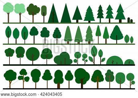 Green Trees In A Flat Design. Various Forest Line. Natural Product, Garden, Nature Cosmetics, Cartoo