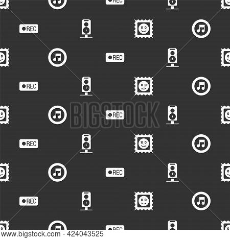 Set Lsd Acid Mark, Music Note, Tone, Record Button And Stereo Speaker On Seamless Pattern. Vector
