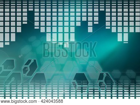 Composition of digital grid and hexagonal network on glowing green background. global communication and technology concept digitally generated image.