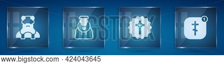 Set Priest, Monk, Christian Cross And Online Church Pastor Preaching. Square Glass Panels. Vector