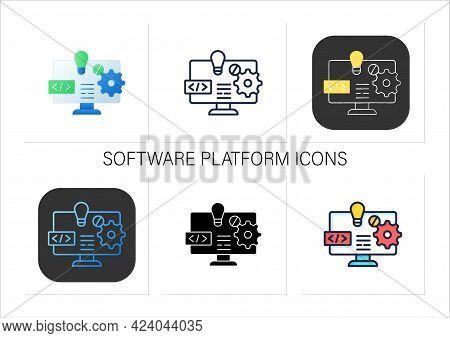 Software Platform Icons Set. Programming Environment. Platform For Creating New Operating Systems. N