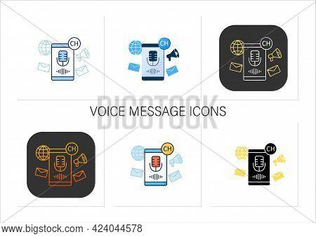 Voice Message Icons Set. Voice Message Recording. Microphone. Speaking. Communication Concept.collec