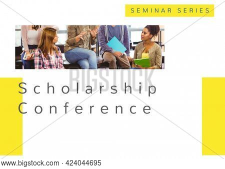 Composition of scholarship conference text with colleagues in meeting and yellow rectangles on white. seminar design template concept digitally generated image.