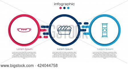 Set Line Hotdog Sandwich, Chicken Nuggets In Box And Chocolate Bar. Business Infographic Template. V