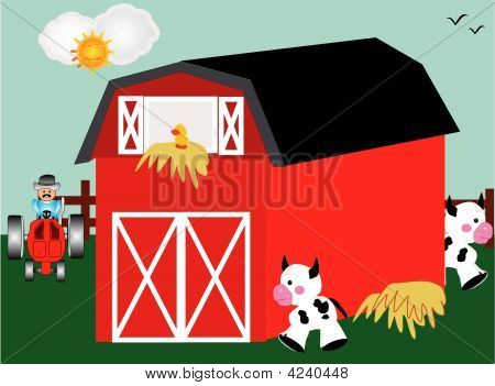 Barnyard with red barn tractor and farm animals poster