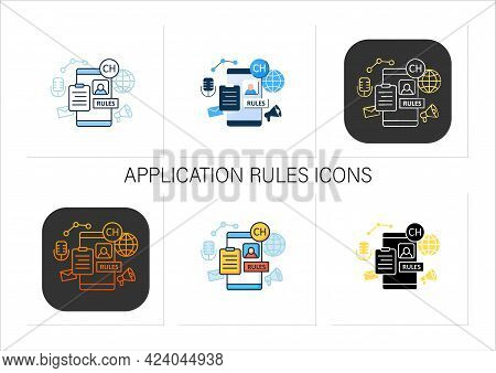 Application Rules Icons Set. Rules For Users. Main Application Regulation. Communication Concept. Co