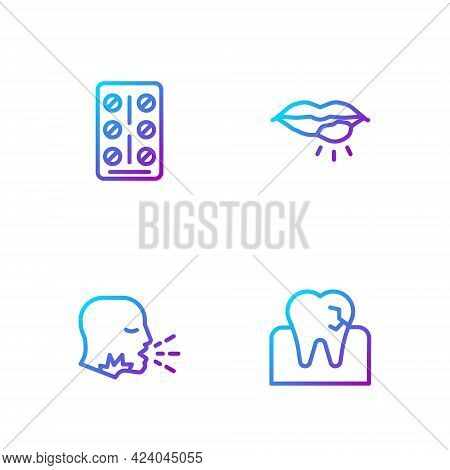 Set Line Tooth With Caries, Man Coughing, Pills Blister Pack And Herpes Lip. Gradient Color Icons. V