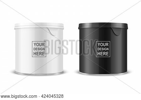 Vector 3d Realistic Blank Glossy White, Black Metal Glossy Tin Can, Canned Food, Potato Chips Packag