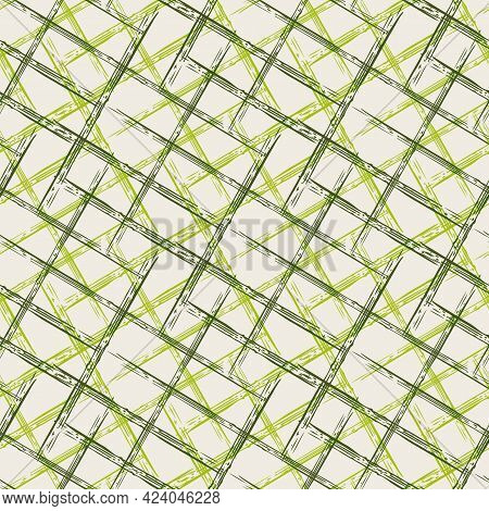 Vector Wicker Weave Grunge Style Seamless Pattern Background. Painterly Brush Stroke Criss Cross Irr