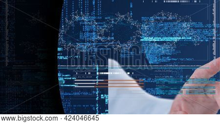 Data processing against hand touching invisible screen against black technology background. computer interface and business technology concept
