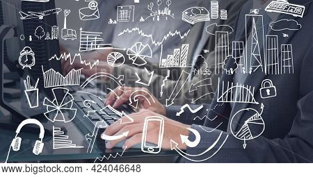 Multiple business concept icons against mid section of businesspeople using computer at office. global business and technology concept