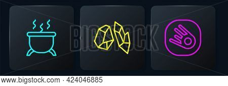 Set Line Witch Cauldron, Comet Falling Down Fast And Magic Stone. Black Square Button. Vector