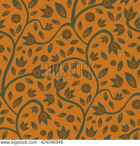 Modern Indian Florals Style Vector Seamless Pattern Background. Terracotta Ochre Sage Green Abstract