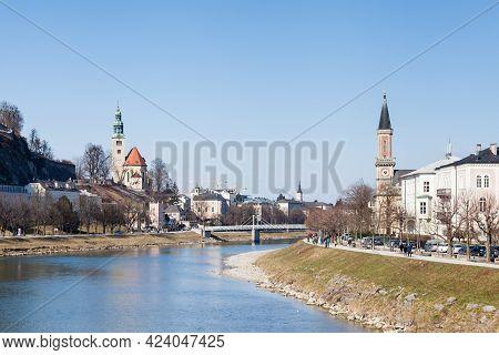 Salzburg, Austria - February 25:  A View Along The Salzach River In Salzburg, Austria Towards The