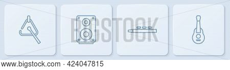 Set Line Triangle, Drum And Drum Sticks, Stereo Speaker And Guitar. White Square Button. Vector