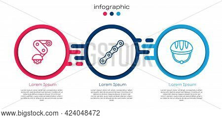Set Line Derailleur Bicycle Rear, Bicycle Chain And Helmet. Business Infographic Template. Vector