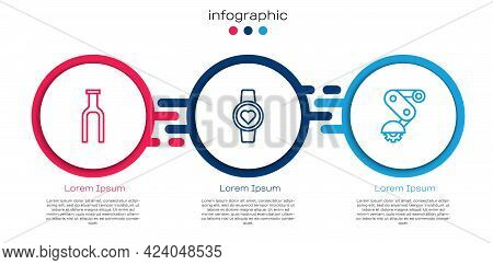 Set Line Bicycle Fork, Smart Watch And Derailleur Bicycle Rear. Business Infographic Template. Vecto