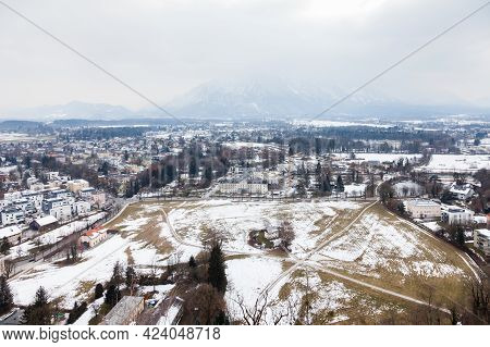 Southern Salzburg Skyline.  The Winter View From The Summit Of Festungsberg Across The Southern Salz