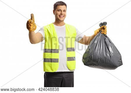Waste collector holding a black plastic bin bag and showing thumbs up isolated on white background