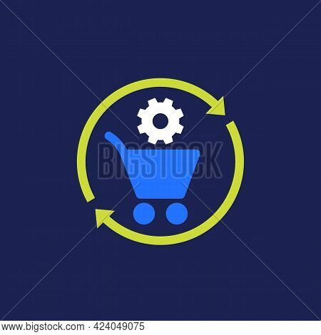 Order Processing Or Procurement Icon, Flat Vector