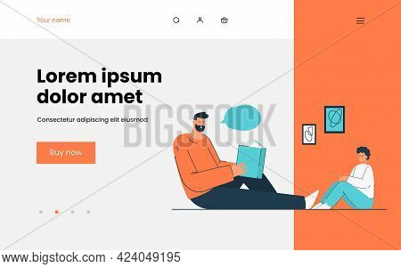Man Reading Book To Child. Flat Vector Illustration. Father And Son Sitting On Floor, Reading Togeth