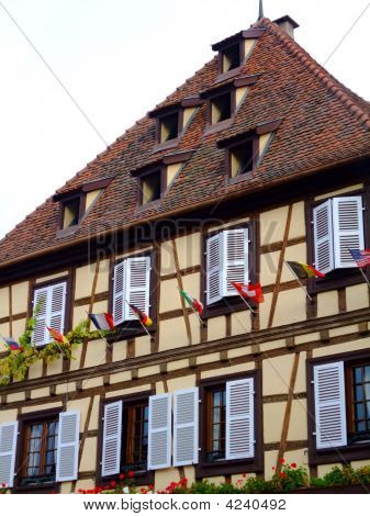 Half-timbered house facade in Alsace - Obernai France poster