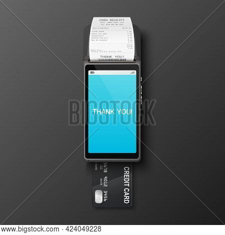 Vector 3d Realistic Payment Machine, Receipt, Plastic Credit Card. Pos Terminal, Paper Receipt, Paym