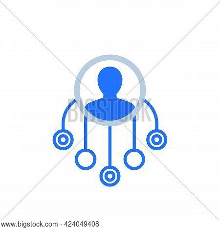 Delegation Or Multitasking Vector Icon On Dark