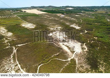 Drone Point Of View La Vega Baja Del Segura Agricultural Fields, Farmlands During Sunny Day, View Fr