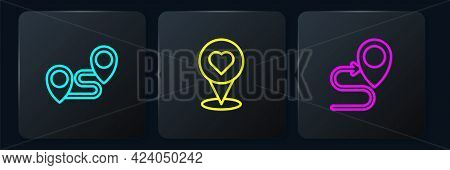 Set Line Route Location, And Location With Heart. Black Square Button. Vector
