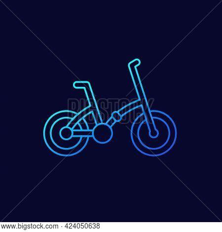 Folding Bike Line Vector Icon On Dark