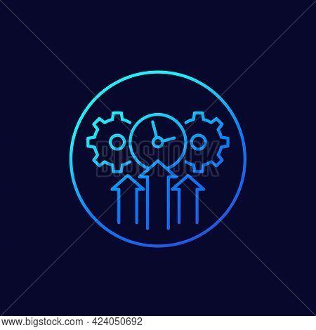 Efficiency, Efficient Growth Icon, Line Vector Art