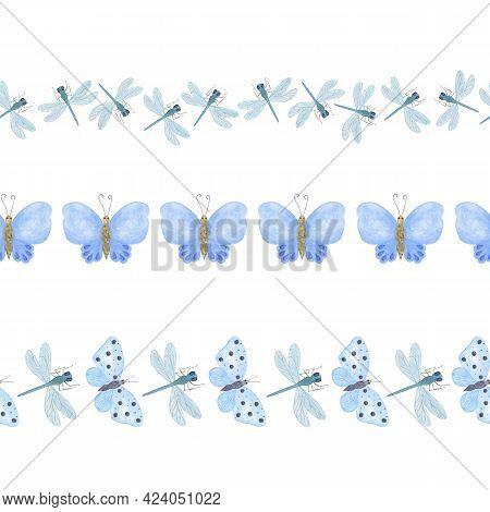 Blue Butterflies Horizontal Border Repeat Pattern, Japanese Washi Tape, Seamless Simple Hand Drawn O