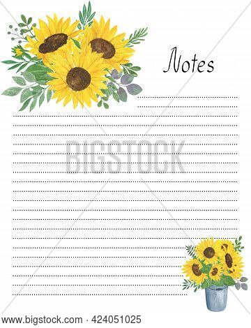 Notes Blank Lined Page Template With Floral Decoration Watercolor Illustration, Yellow Sunflowers, G